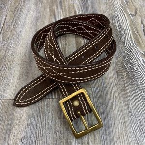 Lands' End Brown White Leather Belt Brass Hardware